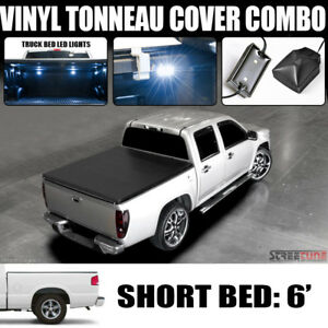 Hidden Snap Tonneau Cover White Led Lights 82 93 Chevy S10 Gmc Sonoma 6 72 Bed