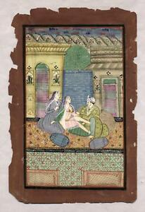 Early To Mid 19th C Persian Erotic Miniature Painting Detailed On Book Page