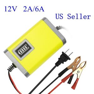 Us 12v 2a 6a Car Motorcycle Smart Automatic Maintainer Trickle Battery Charger