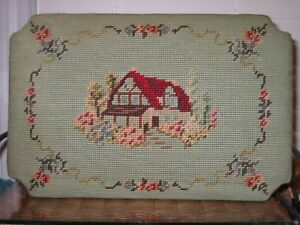 Antique Petit Point Foot Stool Cover Only House Floral Scene 14 1 2 X 9 1 2