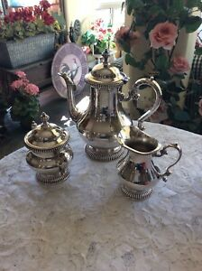 Vintage Kent Silversmith Coffee Tea Silverplate Set With Cream And Sugar Service