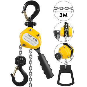 1100lbs 10ft Chain Lever Hoist Yellow Shipping Mines