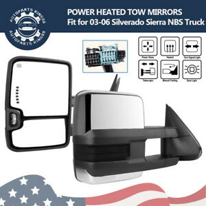 Towing Mirrors For 03 06 Silverado Sierra Chrome Power Heated Led Smoke Signals