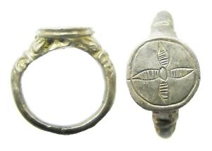 16th Century Tudor Period Decorated Renaissance Silver Signet Ring Size 6 1 2