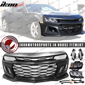 Fits 10 13 Camaro Zl1 Style Front Bumper Cover Chrome Headlights Foglights