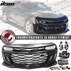 Fits 10 13 6th Gen Camaro Zl1 Style Front Bumper Cover Black Headlights Drl