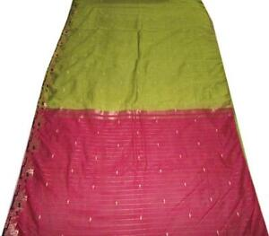 Pink Vintage Sari Pure Cotton Silk Saree Fabric Self Woven Craft Floral Dress 5y