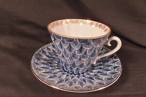 Russian Lomonosov Design Gilt Fish Scale Cobalt Blue Bone China Cup Saucer