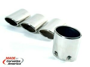 97 00 Chevrolet Corvette Exhaust Tips Stock Polished Stainless Steel 4 Pc X2490