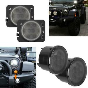 4pcs Smoke Front Turn Signals W side Marker Light Led For 07 16 Jeep Wrangler