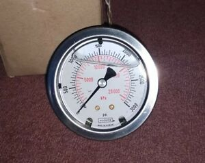 New Noshok 3000 Psi Oil Filled 3 8 Hydraulic Pressure Gauge Made germany Gage