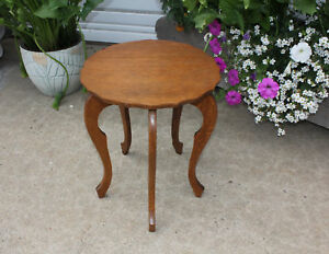 Antique Cute Petite Solid Quarter Sawn Oak Plant Stand Side Table 5 Curved Legs