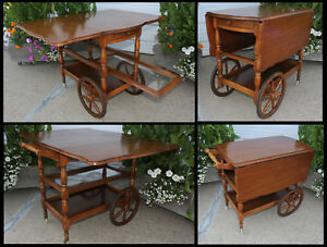 Antique Walnut Wood Tea Serving Cart Trolley Drop Leaf Table Wglass Serving Tray