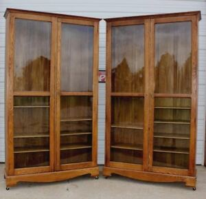 Pair 2 Huge Antique Oak Country Store Clothing Cabinets Bookcases Dish Display