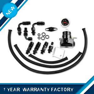 New Universal Adjustable Fuel Pressure Regulator Kit An 6 Fitting 100psi Gauge