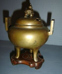Antique Chinese Qing Small Bronze Tripod Censer Incense Burner And Cover Foo Dog