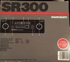 New Sparkomatic Sr300 Am Fm Cassette Car Stereo Complete W Hardware Orig Box