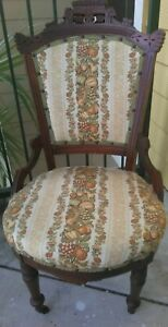 Antique Victorian Eastlake Carved Wood Parlor Side Chair Harvest Fabric Pattern