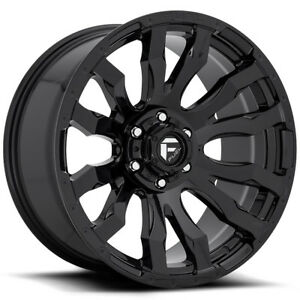 4 Fuel D675 Blitz 20x10 5x127 5x5 18mm Gloss Black Wheels Rims
