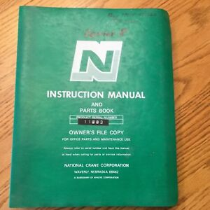 National Series 8 Truck Crane Service Manual Parts Operation Maintenance Install