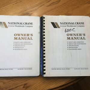 National 600c 681c Truck Crane Service Manual Parts Book Operation Maintenance