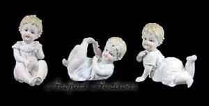 Antique Victorian German Bisque Piano Baby Babies 4 Figurine Set Of 3 7534