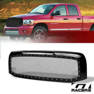 For 2002 2005 Dodge Ram Blk Rivet Bolt Steel Mesh Front Hood Bumper Grill Grille