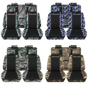Truck Seat Covers 2014 2018 Chevy Silverado Camo Black Design Custom Fit Abf