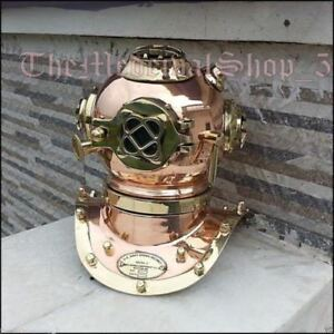 U S Navy Solid Copper And Brass Divers Mini Diving Helmet Vintage Reproduction