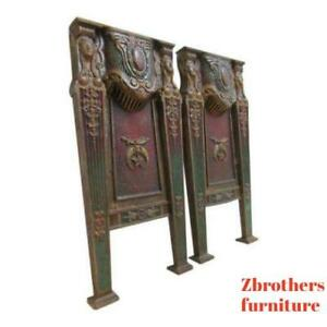 Victorian Masonic Architectural Salvage Cast Iron Theater Seat Industrial Legs A