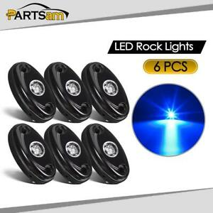 6pcs Blue Led Glow Rock Light Kit For Jeep Off Road Truck Auto Car Boat Atv Suv