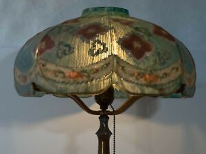 Pairpoint Puffy Reverse Painted Ribbed Lamp C 1910