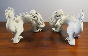 White Chinese Bisque Porcelain Dragon Figurine Pair