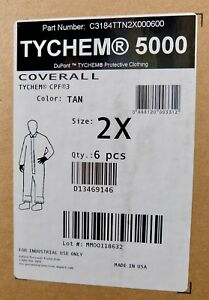 X6 New Dupont Tychem 5000 Coverall Tan Size 2x Protective Suit C3184ttn2x000600