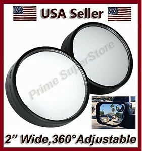 2 Inch Round Side Auxiliary Blind Spot View Mirror Two Small Swivel Rearview