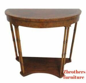 Baker Furniture Faux Bamboo Demilune Banded Hall Console Table Burl Wood