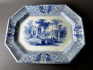 Antique W Gh 19th Century Patras Blue Transferware Ironstone Platter Circa 1830
