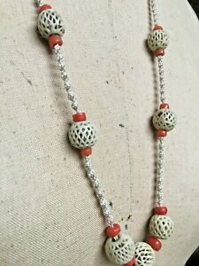 Antique Chinese Carved Necklace With Bovine Bone Beads Natural Coral Beads