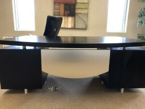 Modern Style floating Top Black And Stainless Steel Executive Desk