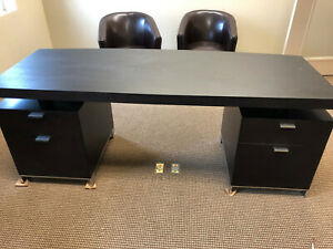 Modern Style Brown Executive Desk With floating Work Surface