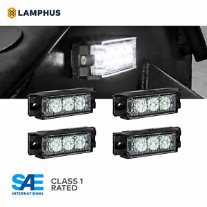 4pc 3w Led Emergency Vehicle Strobe Grille Light Head Police Firefighter White