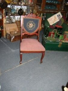 Chair Victorian Carved Inlaid Needlepoint Parlor Vintage Antique Mahogany