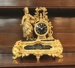 French 19th Century Gilded Mantle Clock Movement Overhauled And Running Well