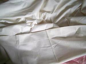 Antique French Linen Sheet 85 X 60 Cream Embroidery Seamed Heavy Weight Exc