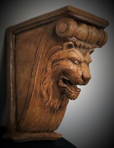 Lion Face Scroll Corbel Bracket Shelf Architectural Accent Wood Stained