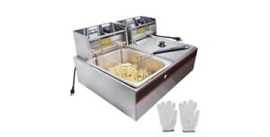 New 5000w 12l Electric Countertop Deep Fryer Dual Tank Commercial Restaurant