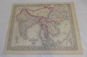 1872 Antique Color Map Hindoostan Farther India China Tibet