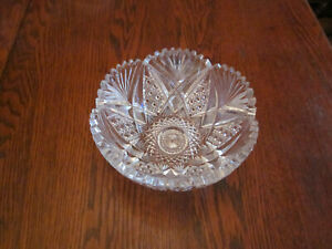 Antique Wheel Cut Lead Crystal Small Bowl