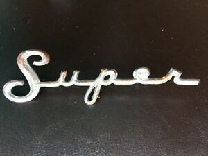 Antique Vintage Super Script Emblem Badge Logo Rat Hot Rod