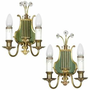 Vintage Pair Of Federal Style Brass Lyre Form 2 Light Wall Sconces